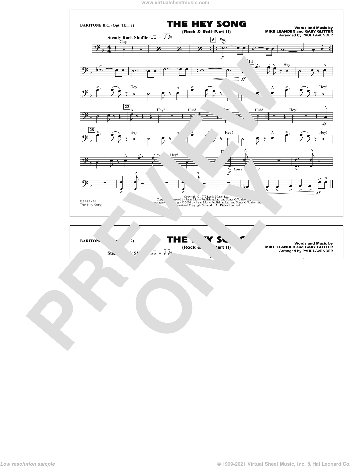 Rock and Roll, part ii (the hey song) sheet music for marching band (baritone b.c., opt. tbn. 2) by Paul Lavender, Mike Leander and Gary Glitter, intermediate skill level
