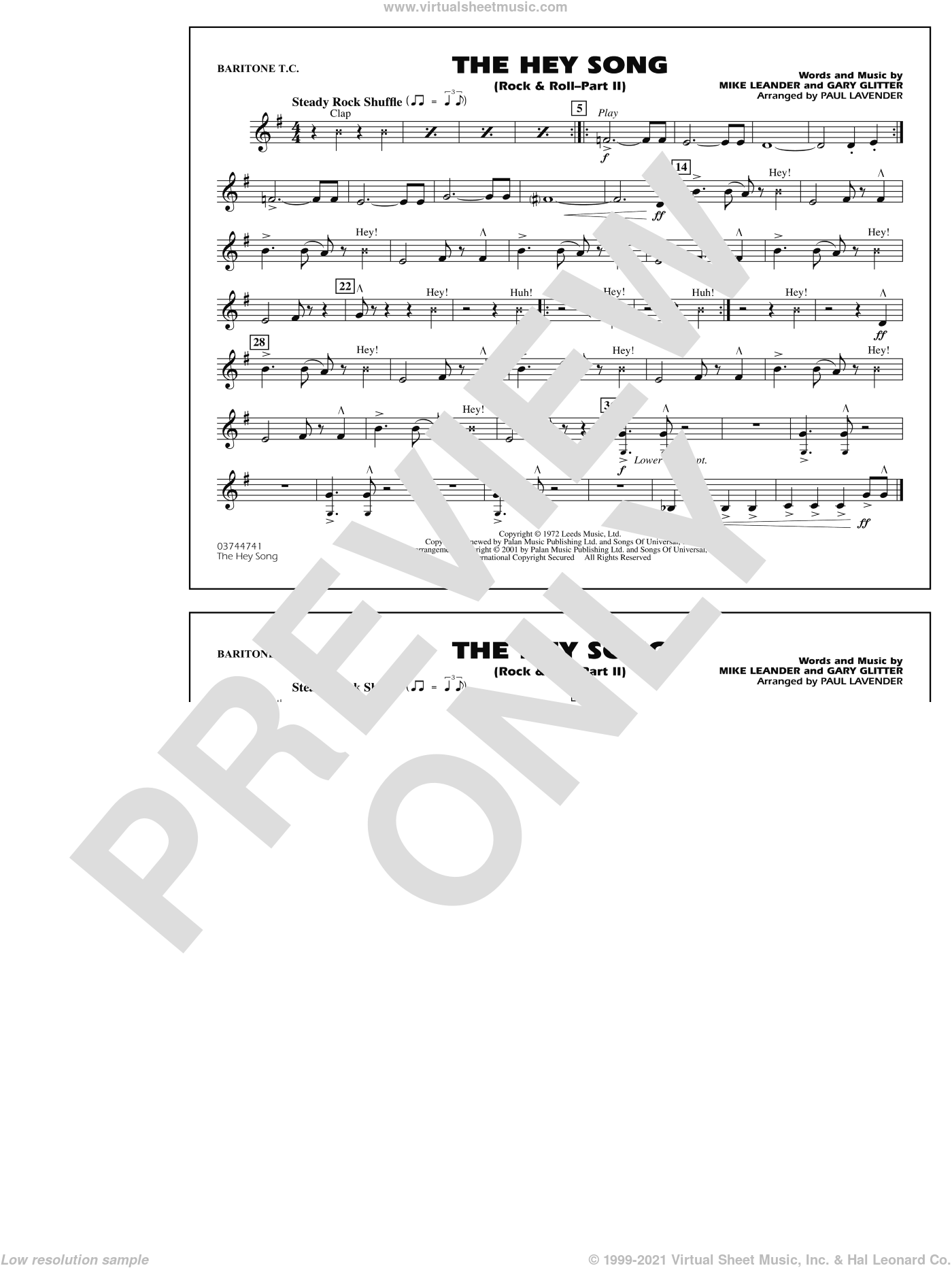 Rock and Roll, part ii (the hey song) sheet music for marching band (baritone t.c.) by Paul Lavender, Mike Leander and Gary Glitter, intermediate skill level