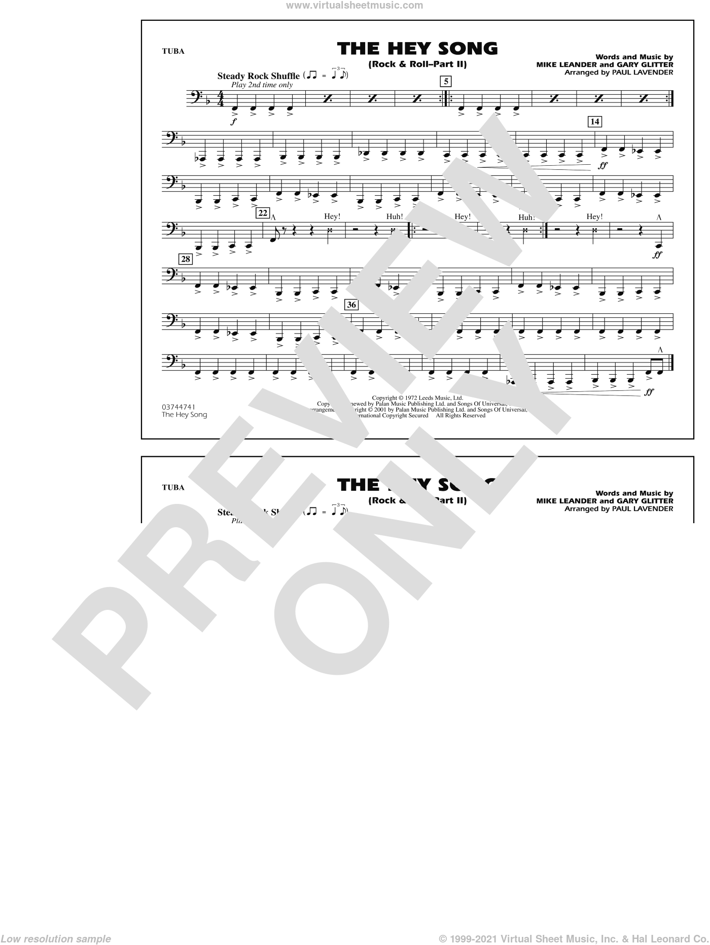 Rock and Roll, part ii (the hey song) sheet music for marching band (tuba) by Paul Lavender, Mike Leander and Gary Glitter, intermediate skill level