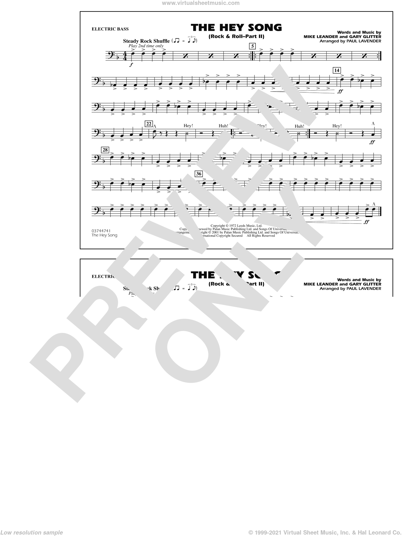 Rock and Roll, part ii (the hey song) sheet music for marching band (electric bass) by Paul Lavender, Mike Leander and Gary Glitter, intermediate skill level
