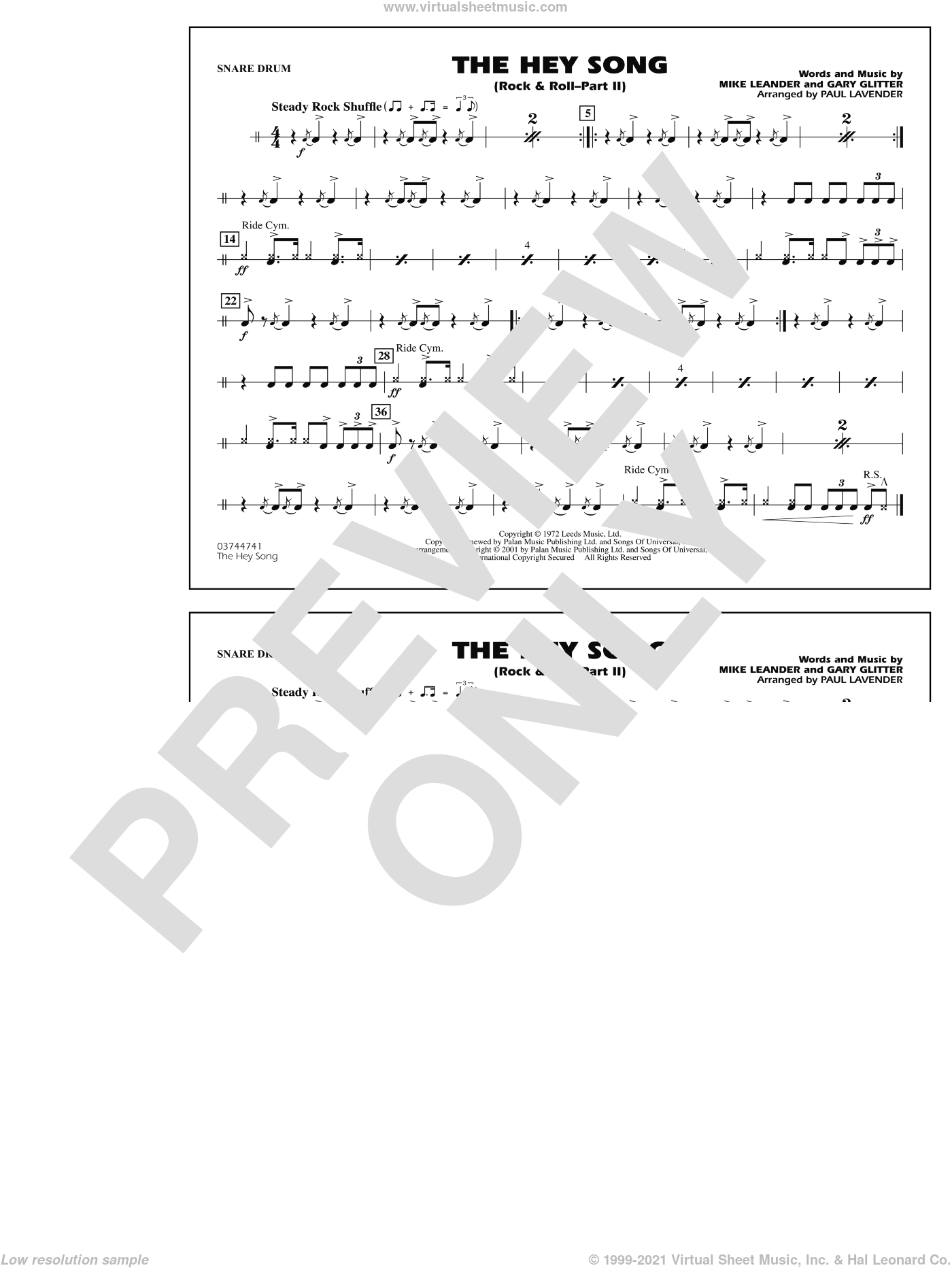 Rock and Roll, part ii (the hey song) sheet music for marching band (snare drum) by Paul Lavender, Mike Leander and Gary Glitter, intermediate skill level
