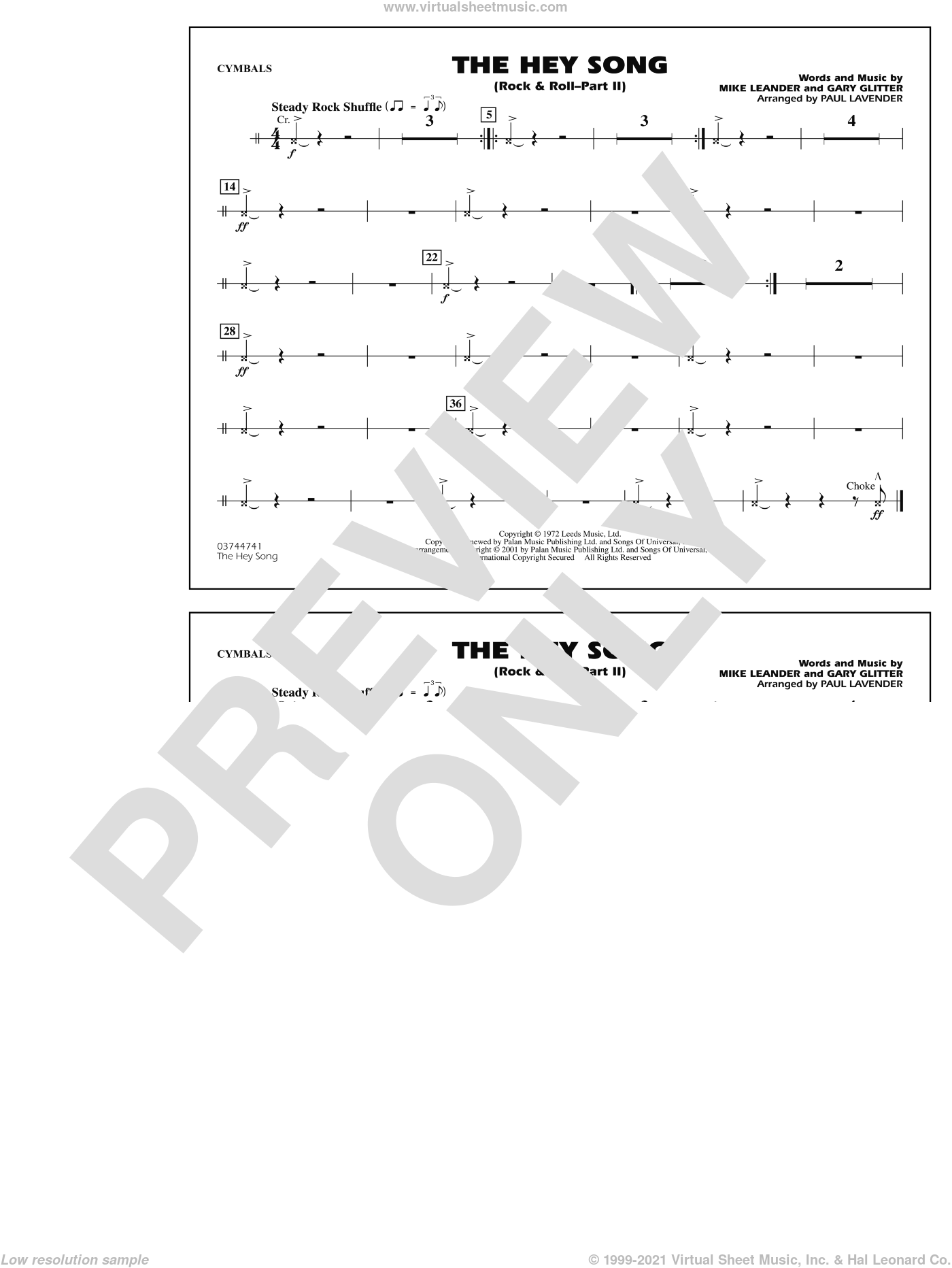 Rock and Roll, part ii (the hey song) sheet music for marching band (cymbals) by Mike Leander