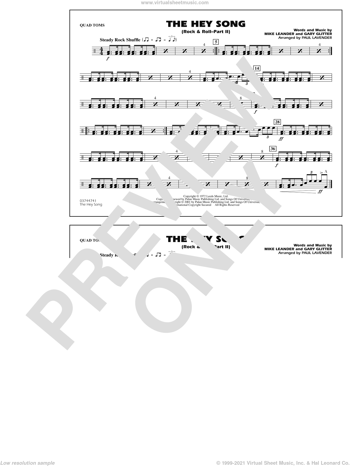 Rock and Roll, part ii (the hey song) sheet music for marching band (quad toms) by Paul Lavender, Mike Leander and Gary Glitter, intermediate skill level