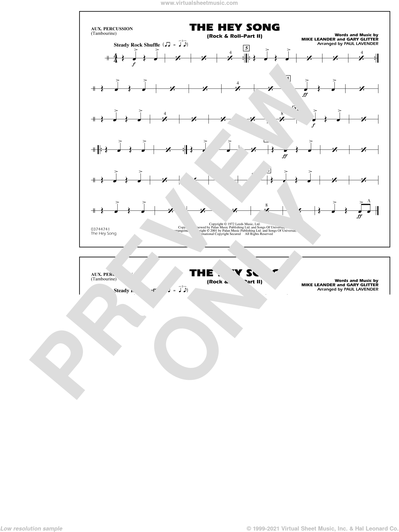 Rock and Roll, part ii (the hey song) sheet music for marching band (aux percussion) by Mike Leander