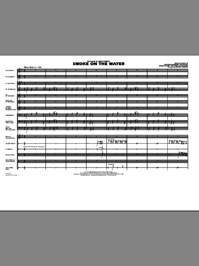 Smoke On The Water (COMPLETE) sheet music for marching band by Jon Lord, Ian Gillan, Ian Paice, Ritchie Blackmore, Roger Glover, Deep Purple and Michael Sweeney, intermediate skill level