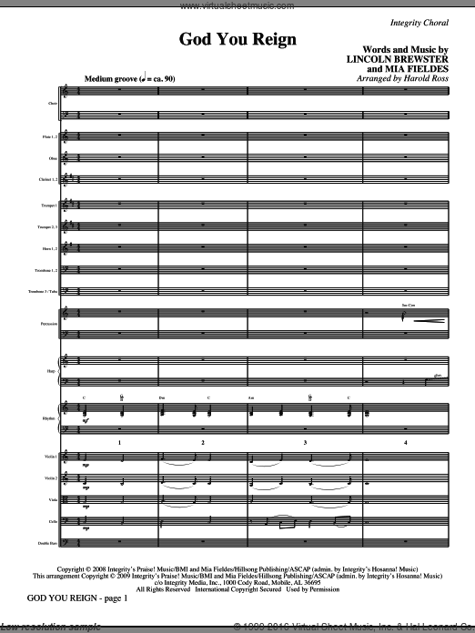 God You Reign (COMPLETE) sheet music for orchestra by Lincoln Brewster, Mia Fieldes and Harold Ross, intermediate. Score Image Preview.