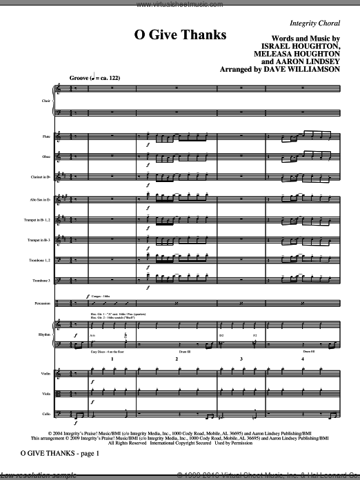O Give Thanks (COMPLETE) sheet music for orchestra by Aaron Lindsey, Dave Williamson, Israel Houghton and Meleasa Houghton. Score Image Preview.
