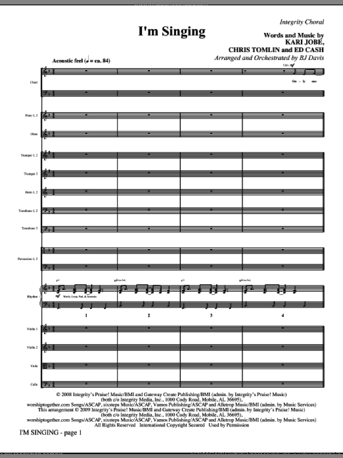 I'm Singing (COMPLETE) sheet music for orchestra/band (Orchestra) by Chris Tomlin, Ed Cash, Kari Jobe and BJ Davis, intermediate skill level