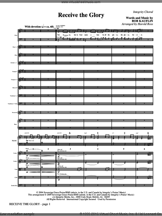 Receive The Glory (COMPLETE) sheet music for orchestra by Bob Kauflin and Harold Ross. Score Image Preview.