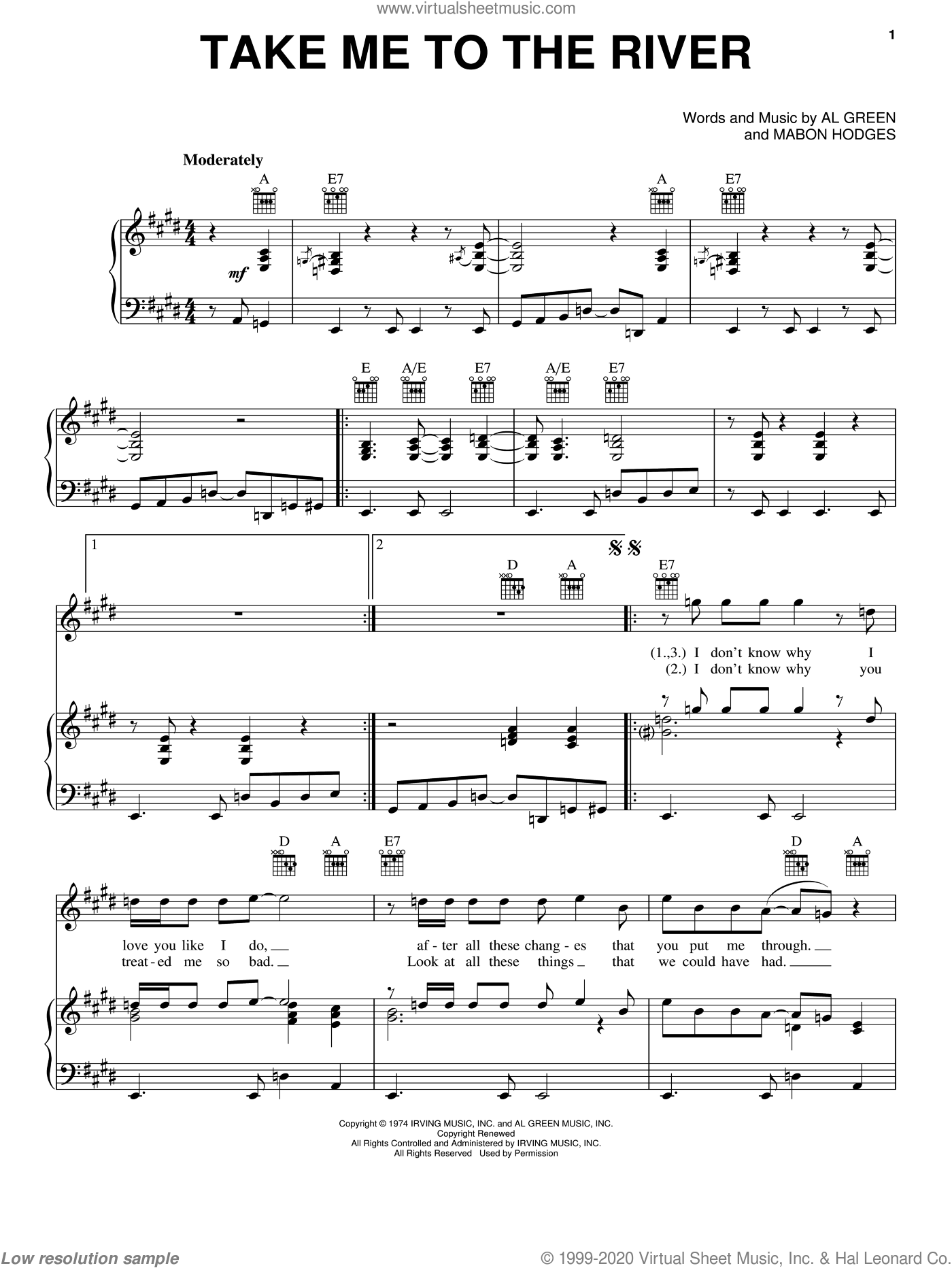 Take Me To The River sheet music for voice, piano or guitar by Al Green, Annie Lennox, Talking Heads and Mabon Hodges, intermediate skill level