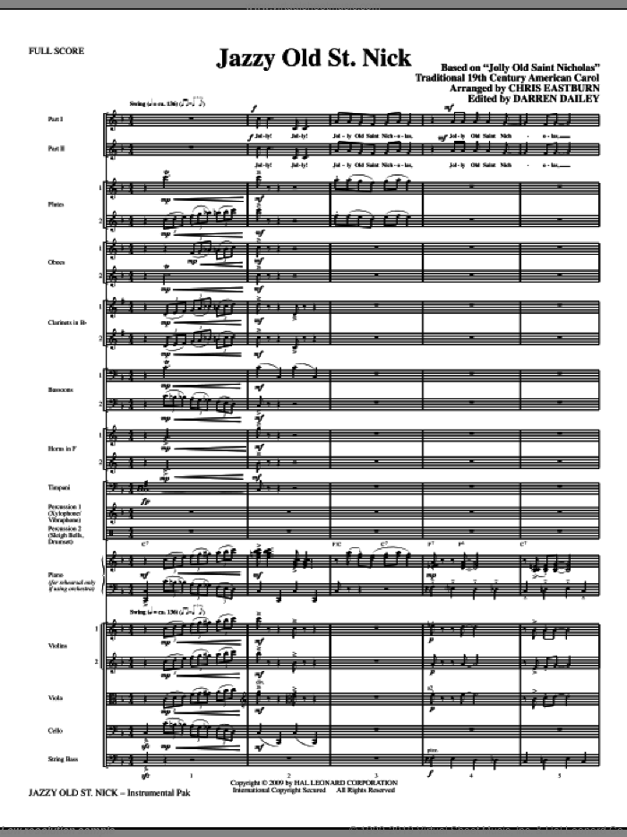 Jazzy Old St. Nick (COMPLETE) sheet music for orchestra/band (chamber ensemble) by Chris Eastburn, Darren Dailey and Miscellaneous, intermediate skill level