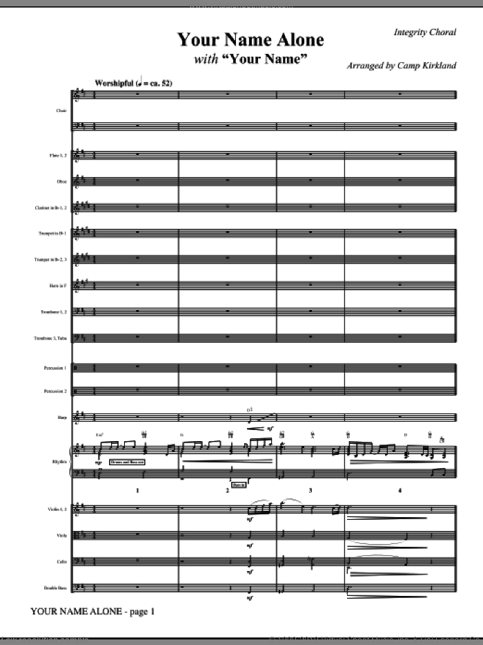 Your Name Alone (with Your Name) (COMPLETE) sheet music for orchestra/band (Orchestra) by Paul Baloche, Glenn Packiam and Camp Kirkland, intermediate. Score Image Preview.