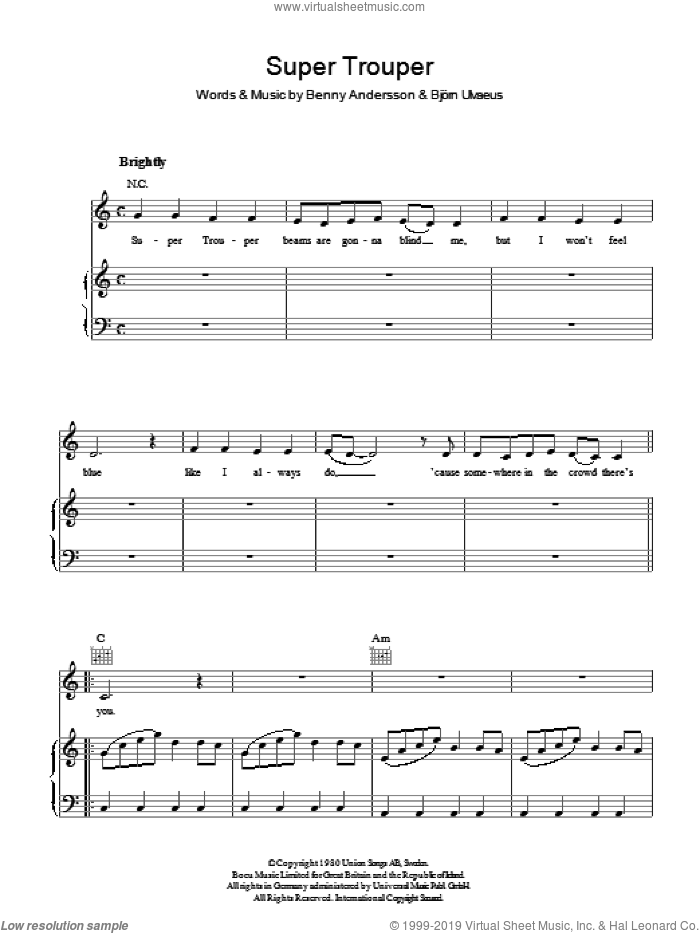 Super Trouper sheet music for voice, piano or guitar by Benny Andersson, ABBA, Bjorn Ulvaeus and Miscellaneous. Score Image Preview.