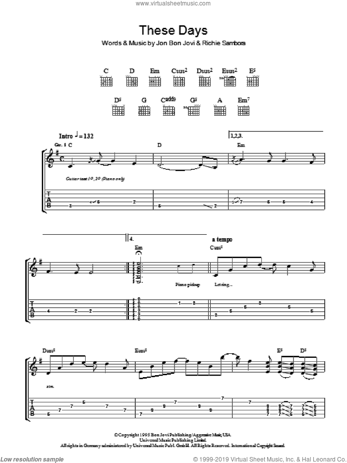 These Days sheet music for guitar (tablature) by Bon Jovi and Richie Sambora. Score Image Preview.