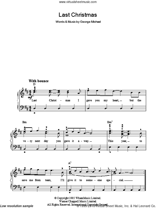 Last Christmas sheet music for piano solo by Wham! and George Michael. Score Image Preview.