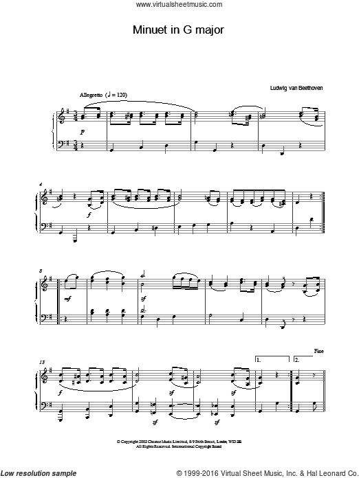 Minuet in G major sheet music for piano solo by Ludwig van Beethoven. Score Image Preview.