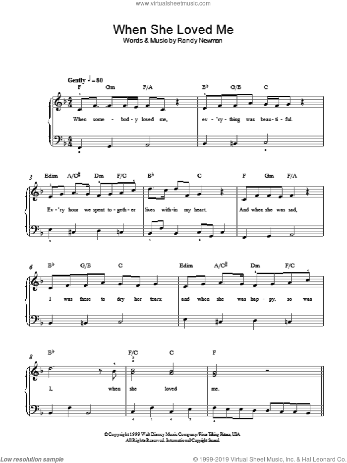 When She Loved Me (from Toy Story 2), (easy) (from Toy Story 2) sheet music for piano solo by Sarah McLachlan, Toy Story 2 (Movie) and Randy Newman, easy skill level