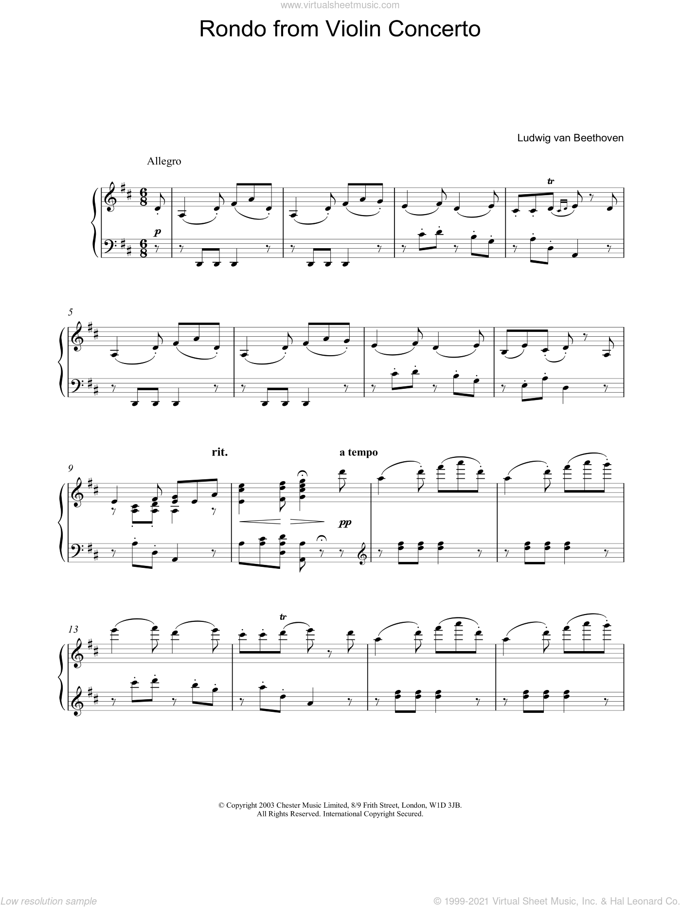 Rondo from Violin Concerto sheet music for piano solo by Ludwig van Beethoven, classical score, intermediate skill level