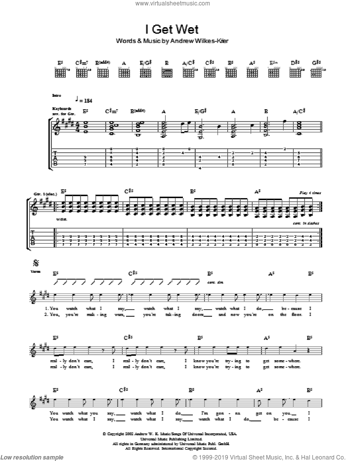 I Get Wet sheet music for guitar (tablature) by Andrew W.K.. Score Image Preview.