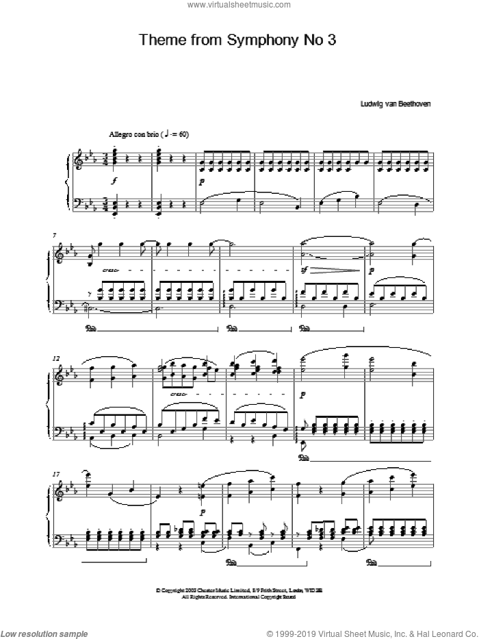 Theme From Symphony No. 3 sheet music for piano solo by Ludwig van Beethoven, classical score, intermediate skill level