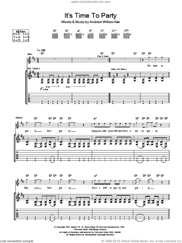 It's Time To Party sheet music for guitar (tablature) by Andrew Wilkes-Krier and Andrew W.K.. Score Image Preview.