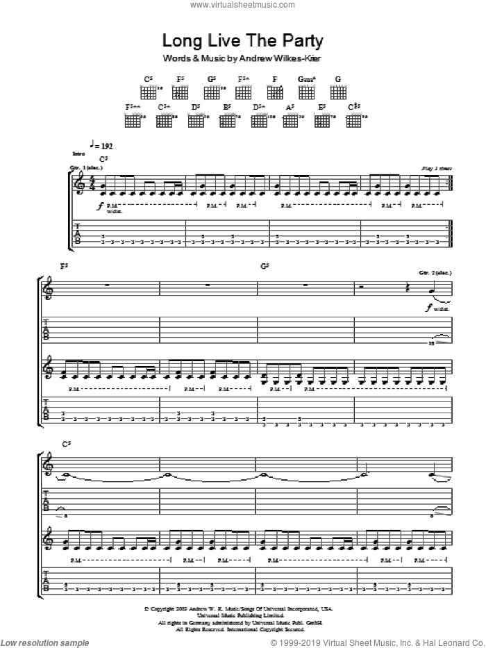 Long Live The Party sheet music for guitar (tablature) by Andrew W.K. and Andrew Wilkes-Krier, intermediate skill level