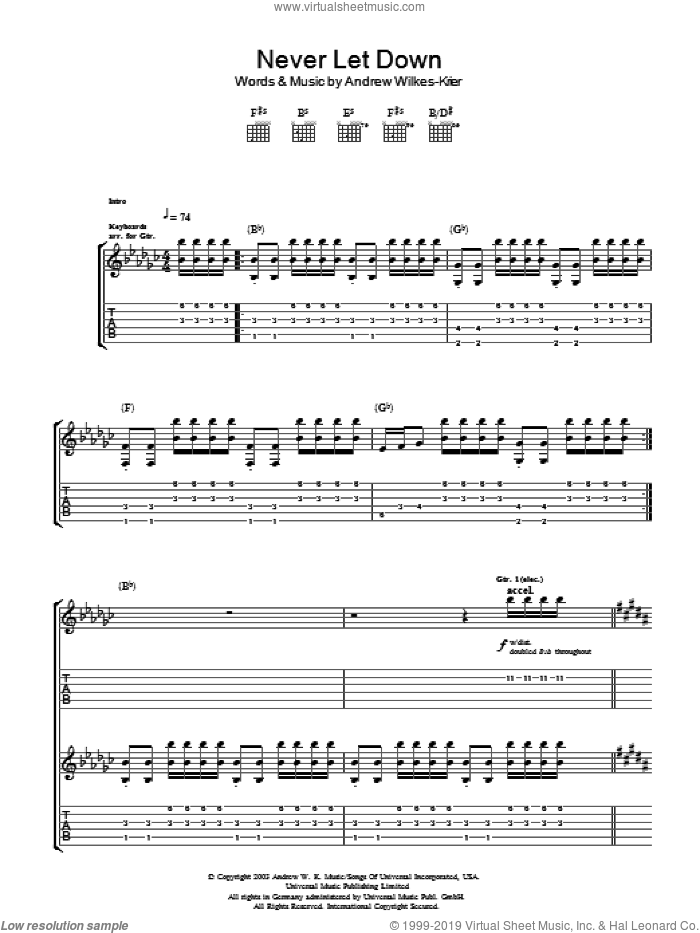 Never Let Down sheet music for guitar (tablature) by Andrew Wilkes-Krier