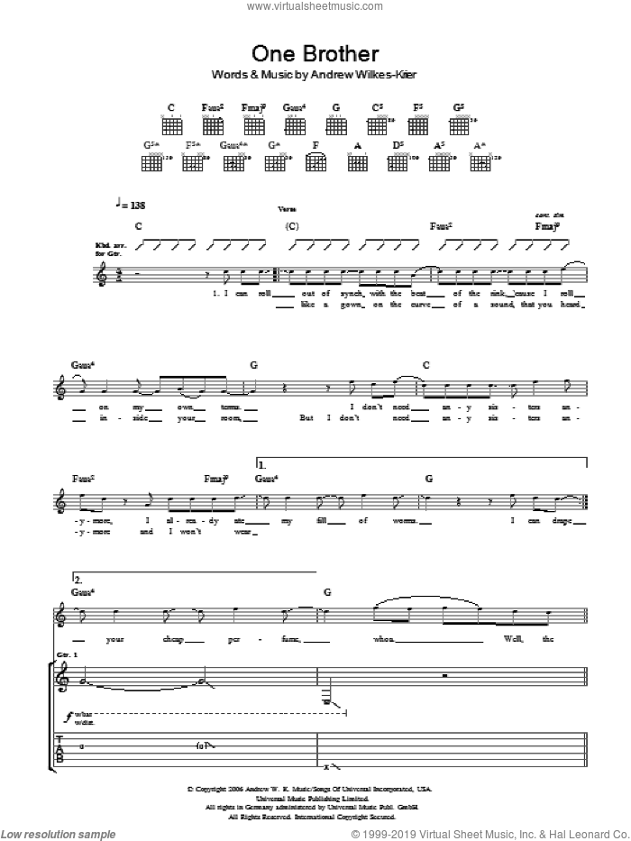 One Brother sheet music for guitar (tablature) by Andrew W.K. and Andrew Wilkes-Krier, intermediate skill level