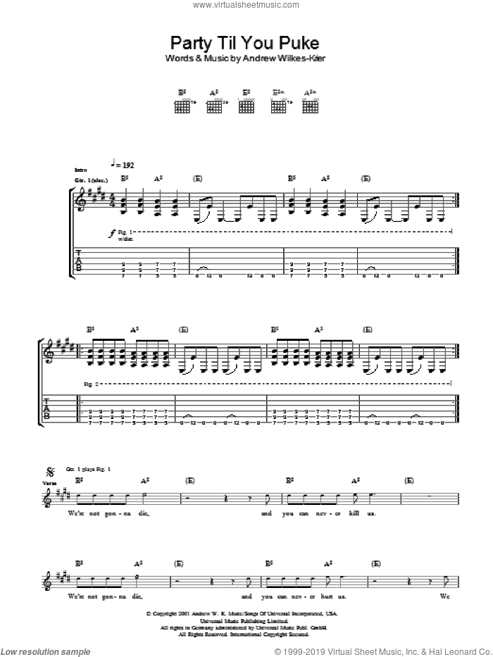 Party Til You Puke sheet music for guitar (tablature) by Andrew Wilkes-Krier and Andrew W.K.. Score Image Preview.