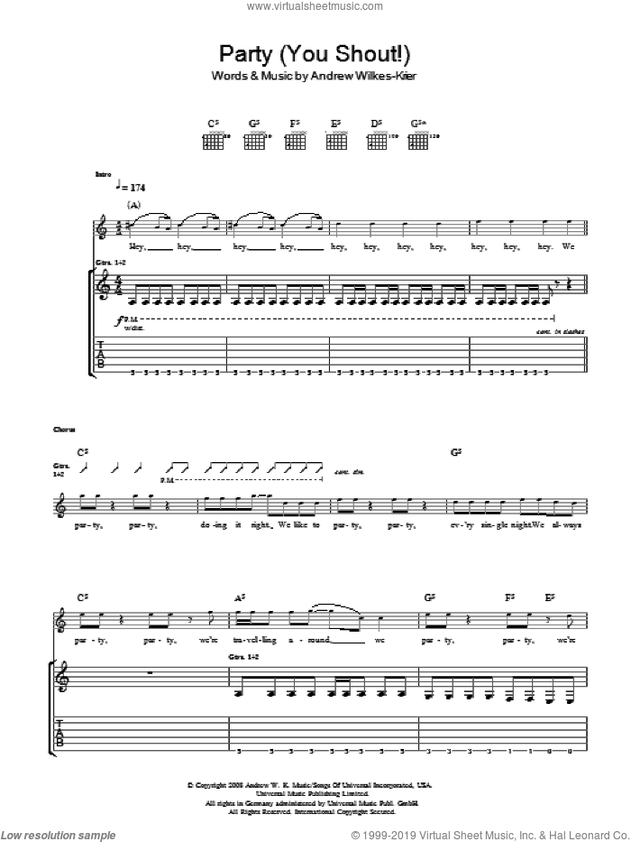 We Party (You Shout) sheet music for guitar (tablature) by Andrew W.K.. Score Image Preview.