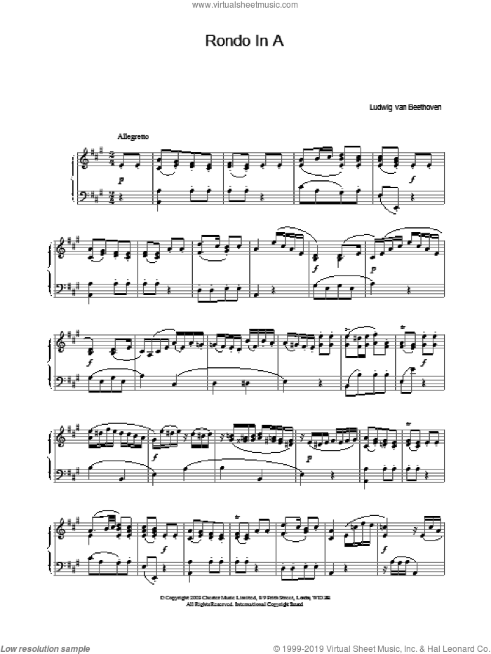 Rondo In A sheet music for piano solo by Ludwig van Beethoven. Score Image Preview.