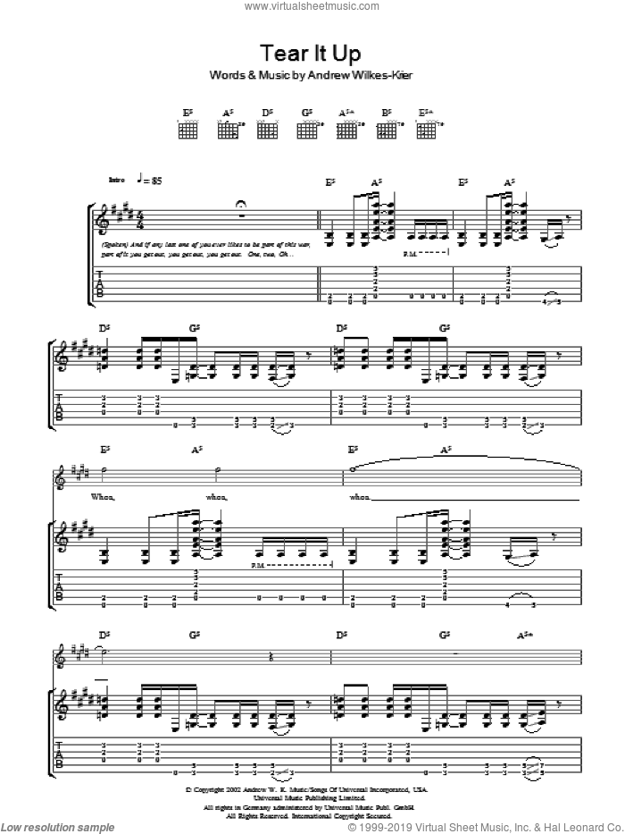 Tear It Up sheet music for guitar (tablature) by Andrew W.K. and Andrew Wilkes-Krier, intermediate. Score Image Preview.