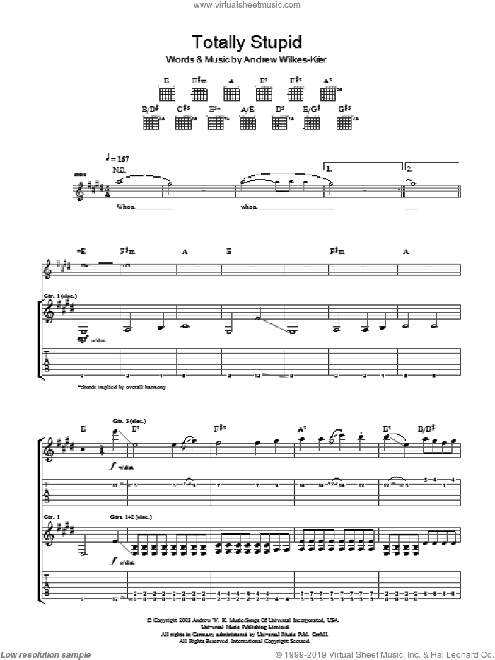 Totally Stupid sheet music for guitar (tablature) by Andrew W.K. and Andrew Wilkes-Krier, intermediate