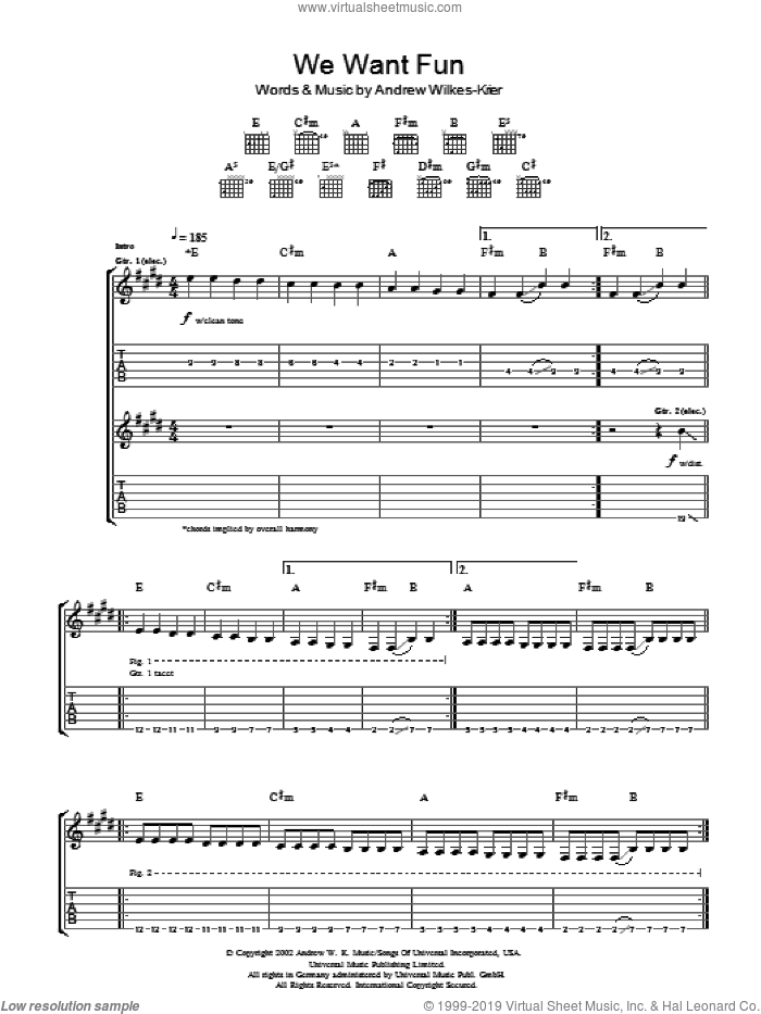 We Want Fun sheet music for guitar (tablature) by Andrew W.K. and Andrew Wilkes-Krier, intermediate skill level