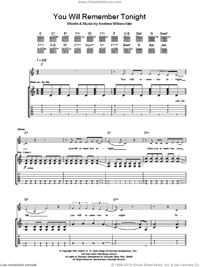 You Will Remember Tonight sheet music for guitar (tablature) by Andrew Wilkes-Krier and Andrew W.K.