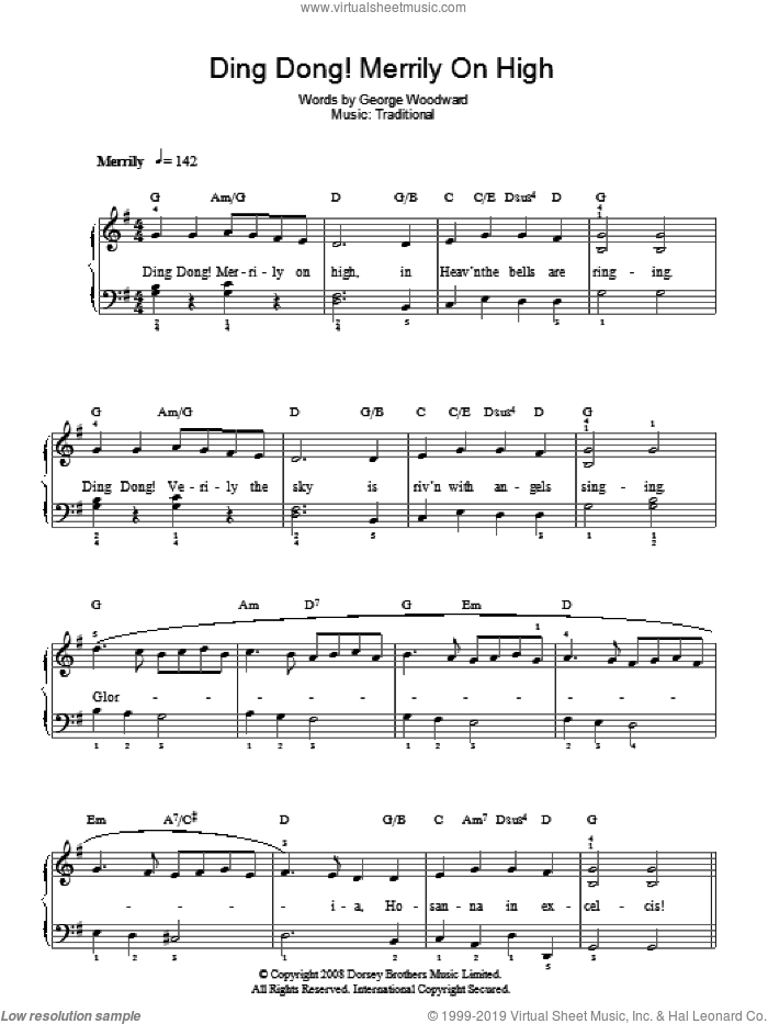 Ding Dong! Merrily On High! sheet music for piano solo by George Woodward and Miscellaneous, easy. Score Image Preview.