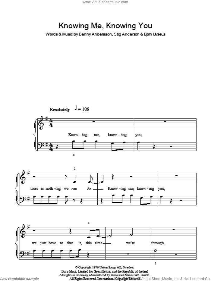 Knowing Me, Knowing You sheet music for piano solo by Benny Andersson, ABBA, Bjorn Ulvaeus, Miscellaneous and Stig Anderson. Score Image Preview.