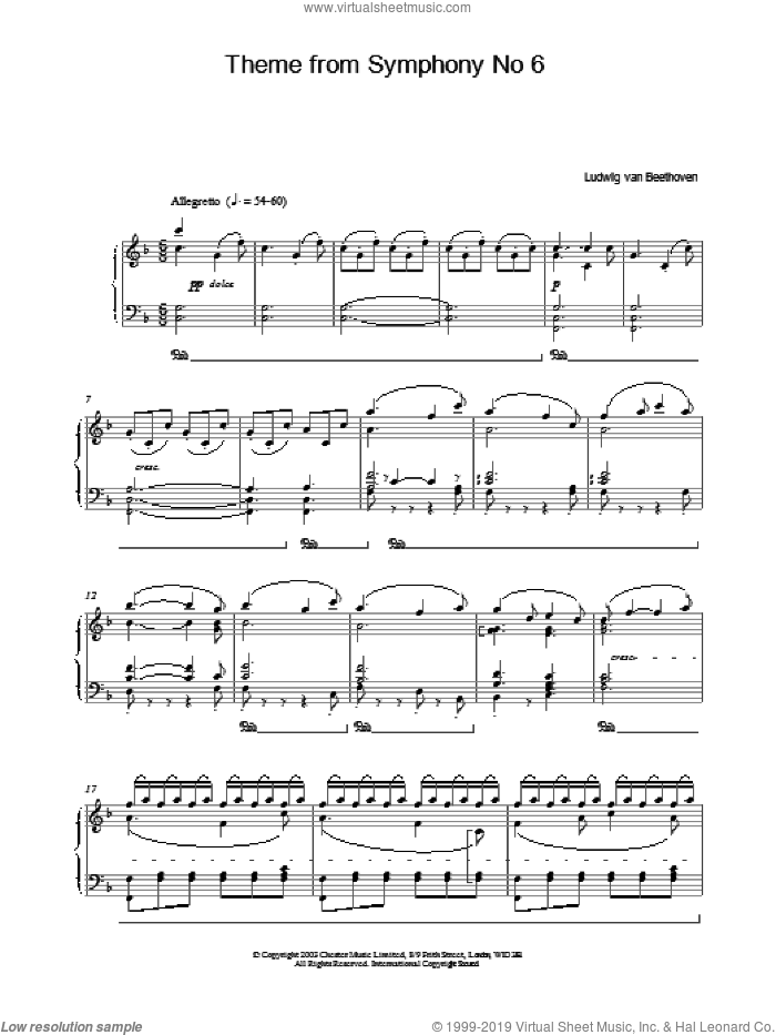 Theme From Symphony No. 6 sheet music for piano solo by Ludwig van Beethoven, classical score, intermediate skill level
