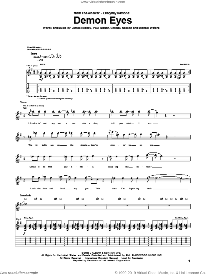 Demon Eyes sheet music for guitar (tablature) by The Answer, Cormac Neeson, James Heatley, Michael Waters and Paul Mahon, intermediate skill level