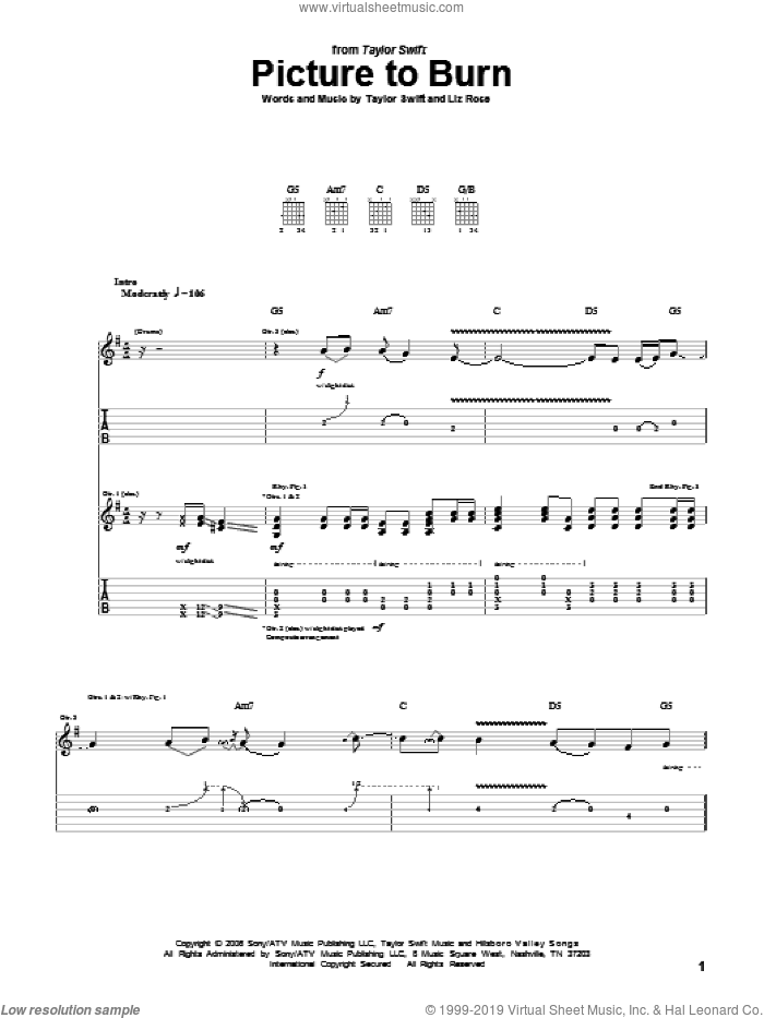Picture To Burn sheet music for guitar (tablature) by Liz Rose and Taylor Swift. Score Image Preview.