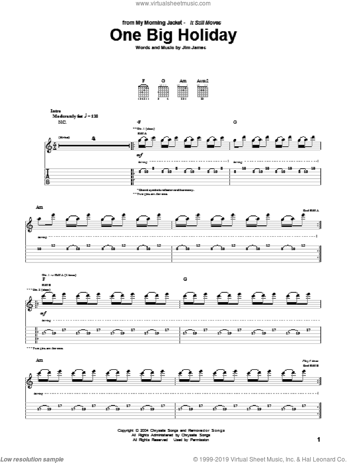 One Big Holiday sheet music for guitar (tablature) by My Morning Jacket, intermediate guitar (tablature). Score Image Preview.
