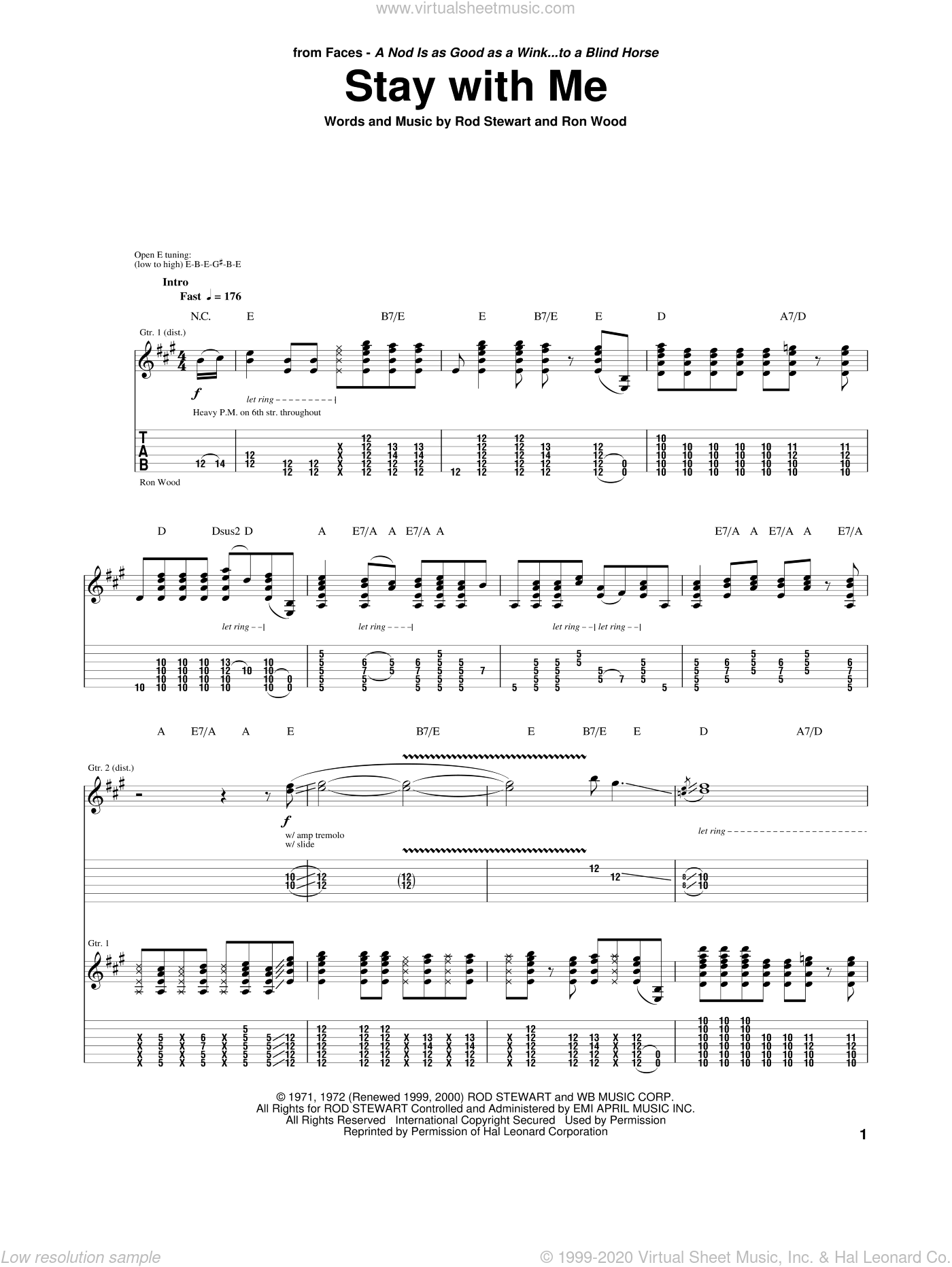 Stay With Me sheet music for guitar (tablature) by Ron Wood and Rod Stewart. Score Image Preview.