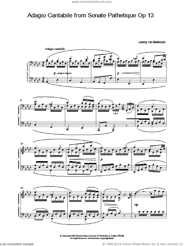 Adagio Cantabile from Sonate Pathetique Op 13 sheet music for piano solo by Ludwig van Beethoven, classical score, intermediate piano. Score Image Preview.