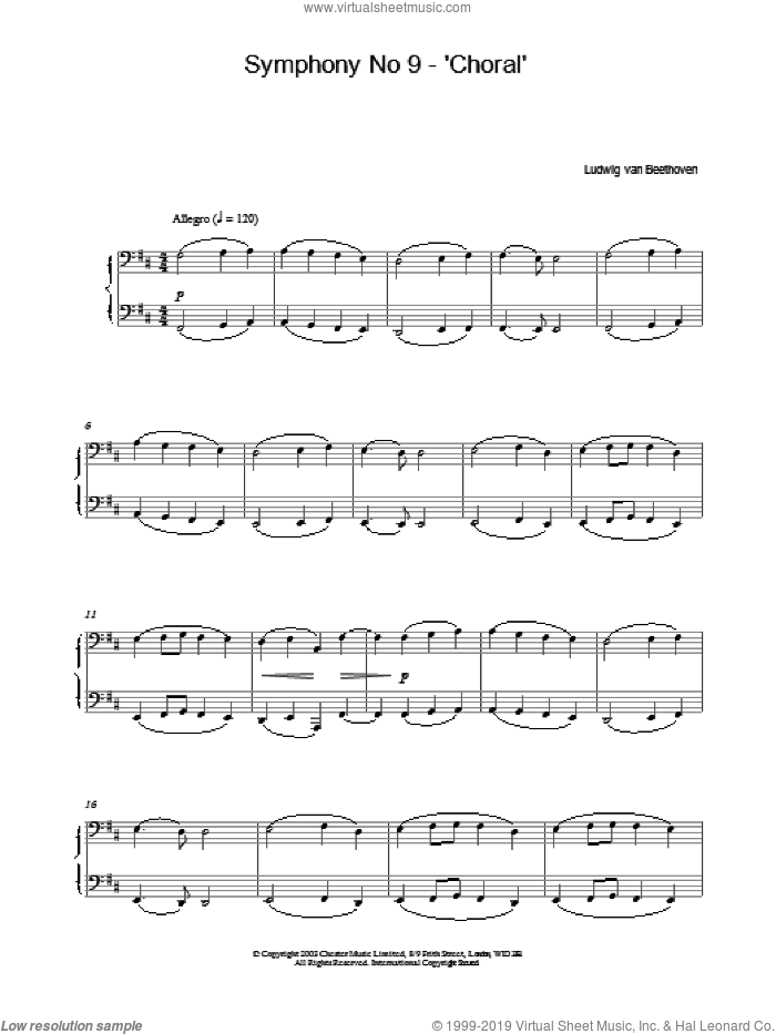 Symphony No 9 - 'Choral' sheet music for piano solo by Ludwig van Beethoven, classical score, intermediate skill level