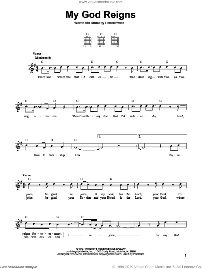My God Reigns sheet music for guitar solo (chords) by Darrell Evans, easy guitar (chords)