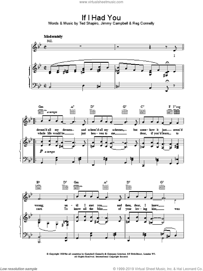 If I Had You sheet music for voice, piano or guitar by Frank Sinatra. Score Image Preview.