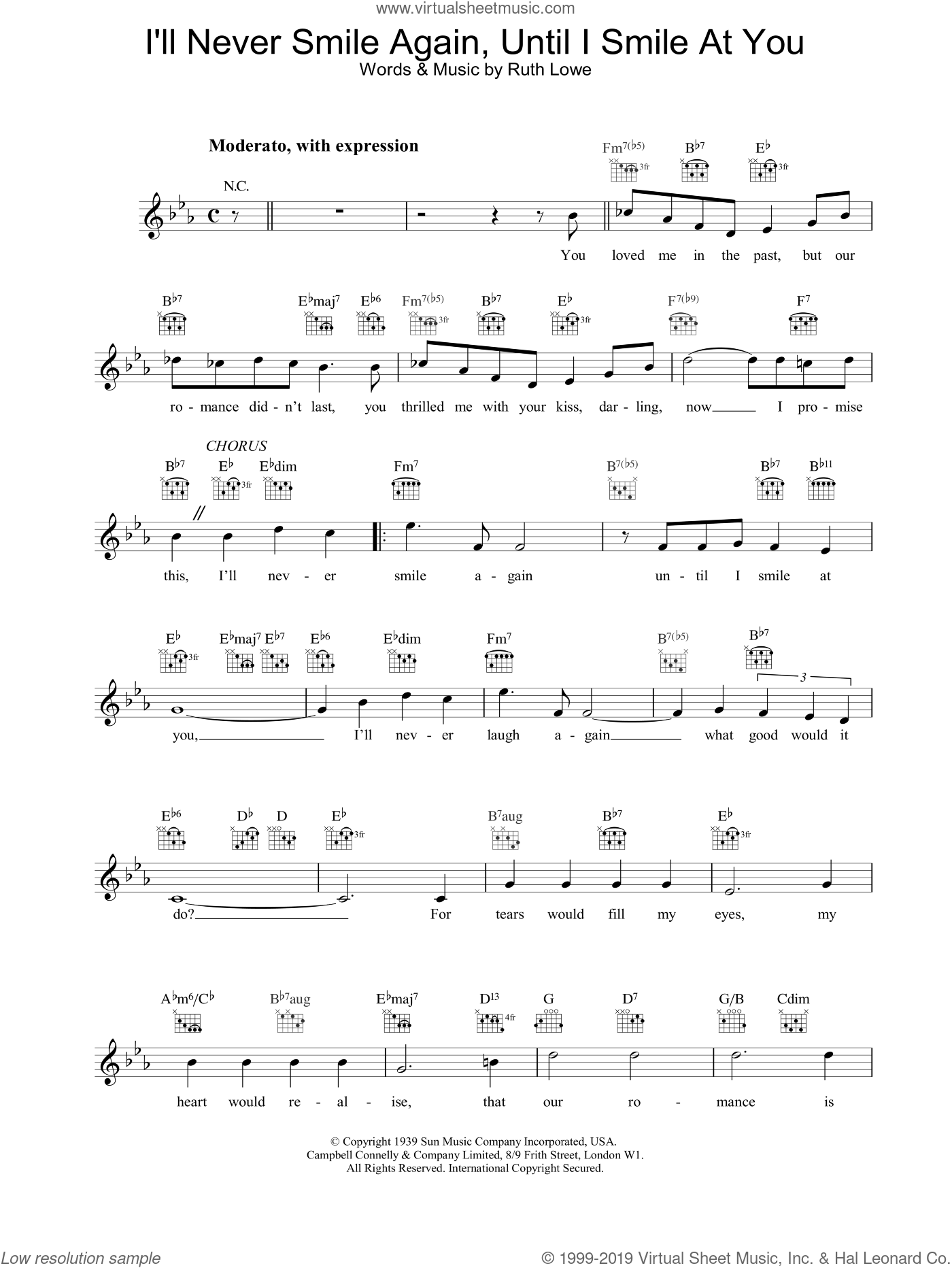 I'll Never Smile Again, Until I Smile At You sheet music for voice and other instruments (fake book) by Frank Sinatra. Score Image Preview.