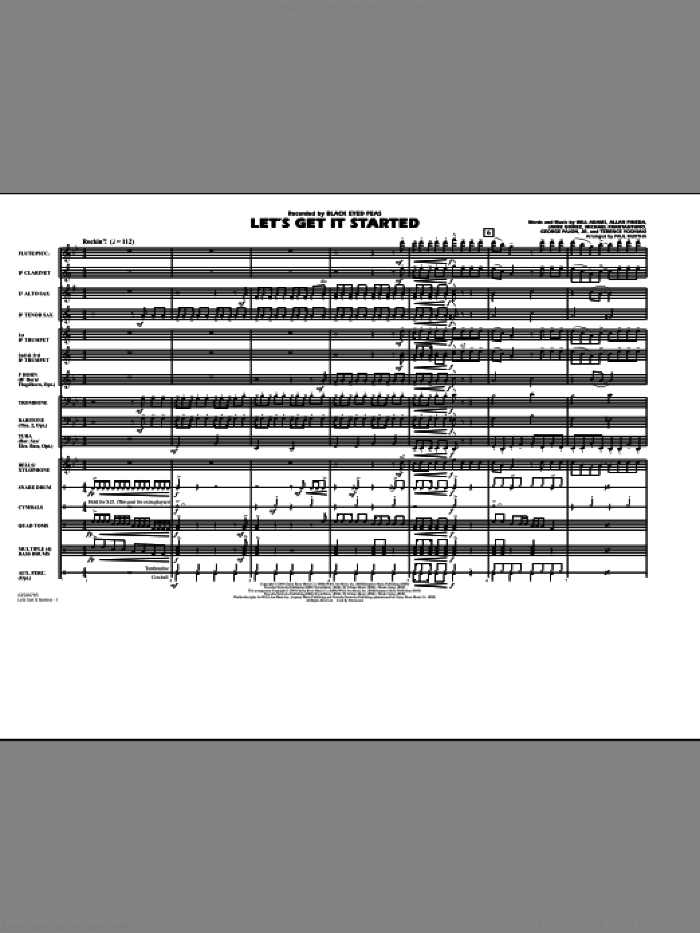 Let's Get It Started (COMPLETE) sheet music for marching band by Will Adams, Allan Pineda, George Pajon Jr., Jaime Gomez, Michael Fratantuno, Terence Yoshiaki, Black Eyed Peas and Paul Murtha, intermediate skill level