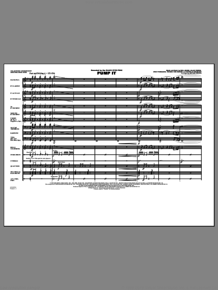Pump It (COMPLETE) sheet music for marching band by Will Adams, Allan Pineda, Nicholas Roubains, Stacy Ferguson, Thomas Van Musser, Black Eyed Peas and Michael Brown, intermediate skill level