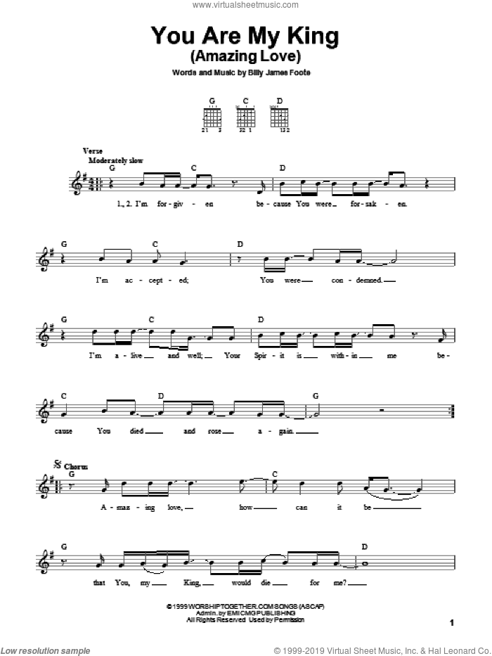 You Are My King (Amazing Love) sheet music for guitar solo (chords) by Newsboys and Billy Foote, easy guitar (chords)